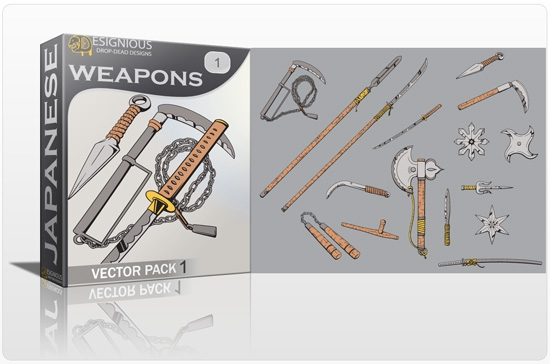 japanese weapons pack preview 1 Special Friday 50% Discount on Japanese Vector Mega Pack 2
