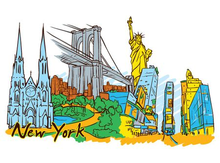 new york doodles1 Amsterdam, Barcelona, London, New York, Paris and Singapore – Famous Cities Vector Pack 2
