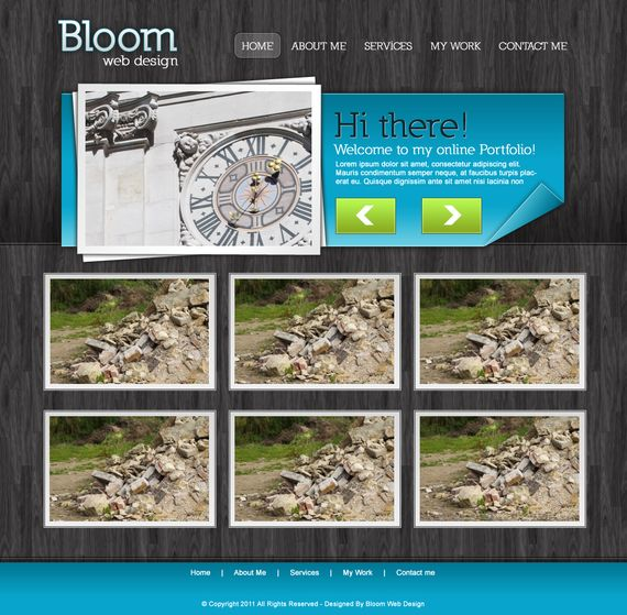 portfolio layout website design template photoshop11 Photoshop Tutorials Roundup   August 2011