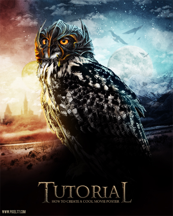 final pixel 77 owl poster tutorial1 Design Process: How to create a movie poster with Photoshop and Paint Tool SAI