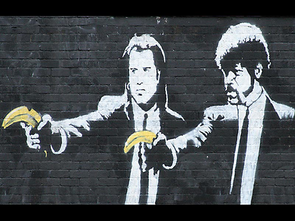 02 banksy pulp fiction 15 Memorable Street Art Masterpieces by Banksy