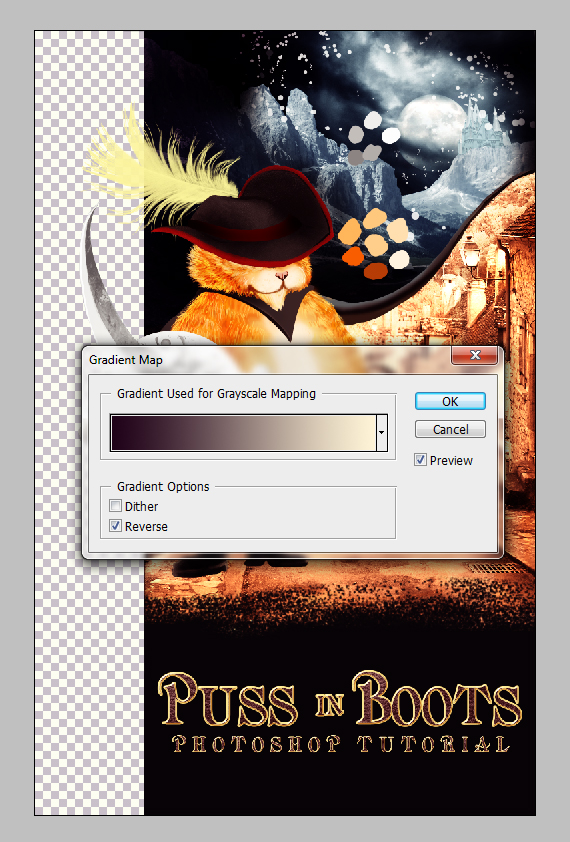 40 pixel 77 puss in boots photoshop tutorial Design Process: How to create a Puss in Boots movie poster in Photoshop