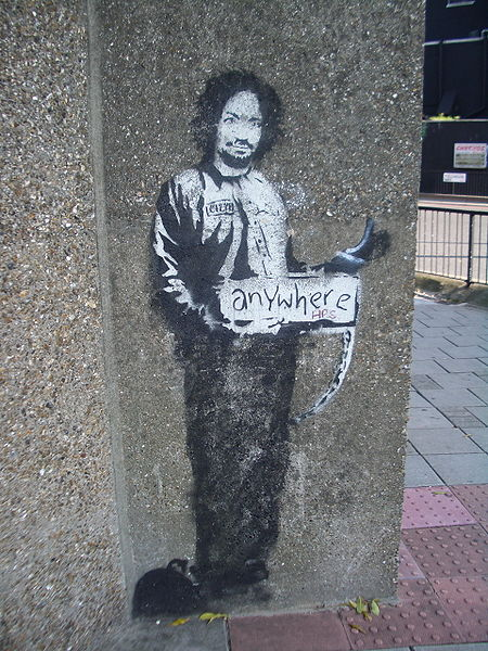 450px Banksy Hitchhiker to Anywhere Archway 2005 15 Memorable Street Art Masterpieces by Banksy