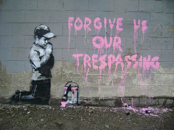 Forgive us graffiti by banksy 15 Memorable Street Art Masterpieces by Banksy