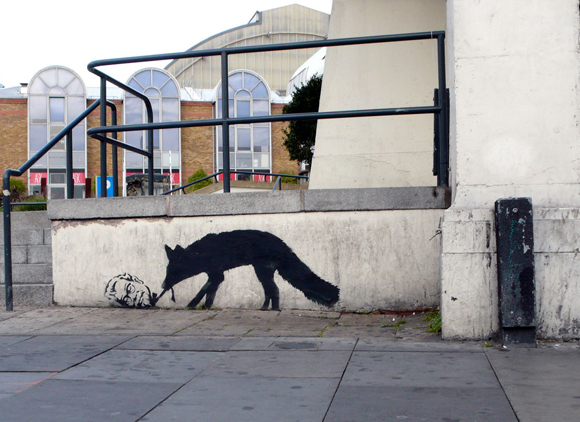 Kentucky fox graffiti by banksy 15 Memorable Street Art Masterpieces by Banksy