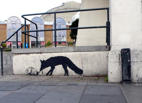 Kentucky fox graffiti by banksy 15 Memorable Street Art Masterpieces by Banksy