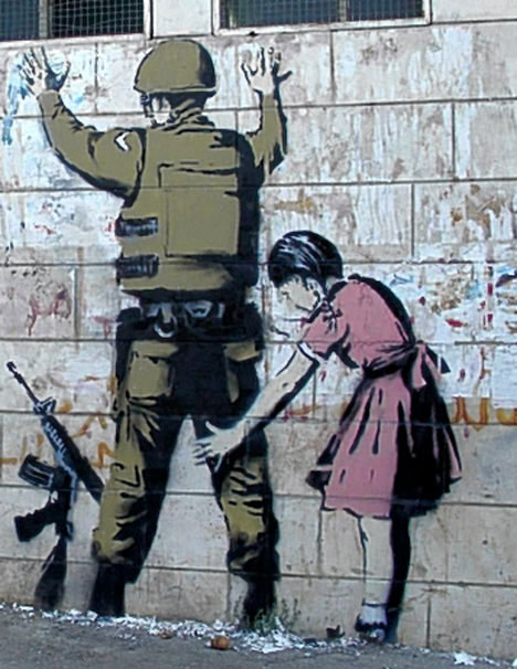 banksy west bank guerrilla art 15 Memorable Street Art Masterpieces by Banksy