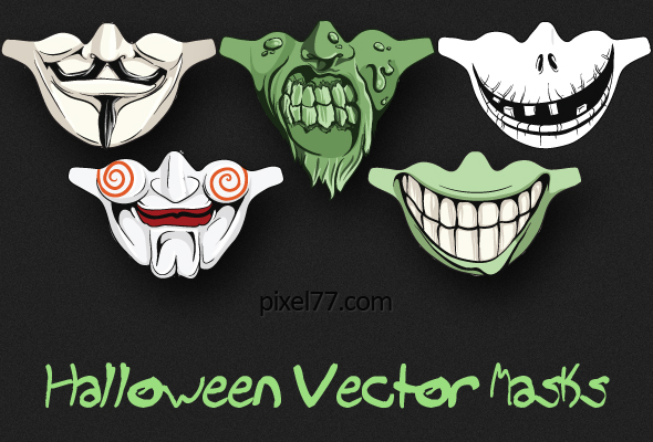 pixel 77 halloween masks preview1 Giveaway   Win 5 Scary Halloween Vector Masks!