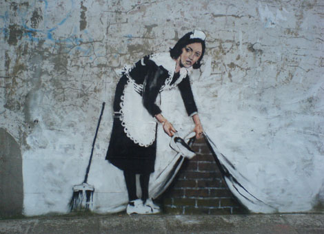 street maid graffiti banksy 15 Memorable Street Art Masterpieces by Banksy