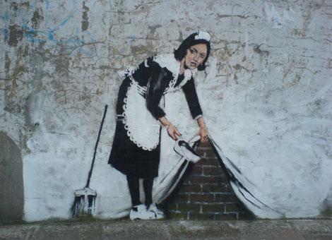 street maid graffiti banksy 15 Memorable Street Art Masterpieces by Banksy