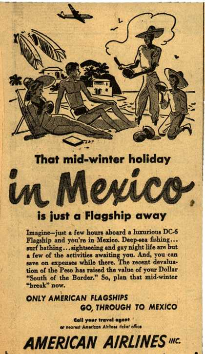 American Airlines 1949 Get a Taste of Christmas with some Vintage Advertising Designs