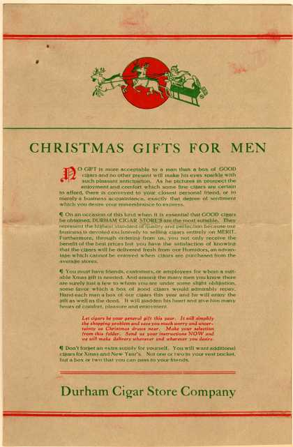 Durham Cigar Store Co. 18801 Get a Taste of Christmas with some Vintage Advertising Designs