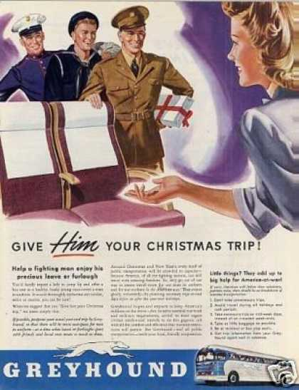 Greyhound Bus 1942 Get a Taste of Christmas with some Vintage Advertising Designs