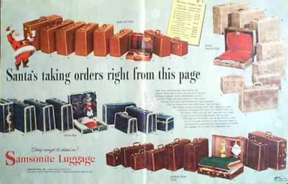 Samsonite Luggage 1949 Get a Taste of Christmas with some Vintage Advertising Designs