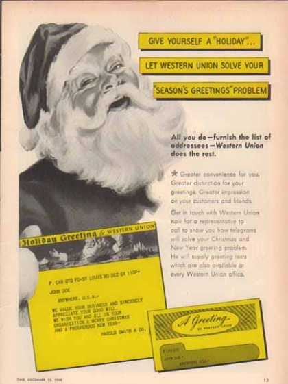 Western Union 1948 Get a Taste of Christmas with some Vintage Advertising Designs