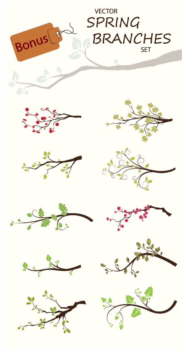 design tnt spring branches vector set bonus preview 2 Fresh Design Resources from Designtnt.com: Vector Price Tags Set & Brush Spring Brunches Set!