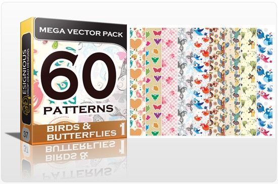 designious birds and butterflies mega pack 1 New Jaw Dropping T shirt Designs, Beautiful Seamless Patterns Vector Packs & Freebie from Designious.com!