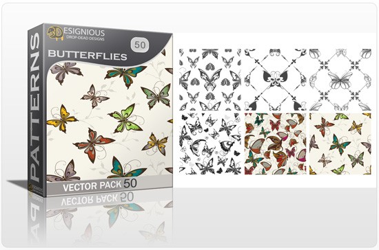 designious seamless patterns vector pack 50 butterflies 1 2 New Jaw Dropping T shirt Designs, Beautiful Seamless Patterns Vector Packs & Freebie from Designious.com!