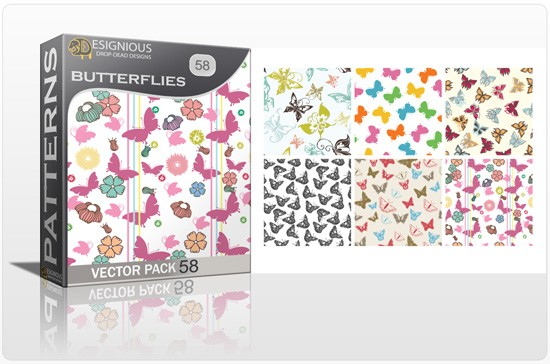 designious seamless patterns vector pack 58 butterflies 4 1 New Jaw Dropping T shirt Designs, Beautiful Seamless Patterns Vector Packs & Freebie from Designious.com!