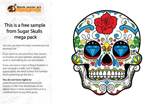 designious free vector sugar skull New Vector Resources from Designious.com! Sugar Skulls, Seamless Patterns, Floral Vector Packs + Freebie