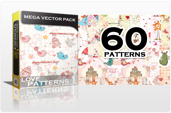 designious seamless patterns mega pack love 1 preview New Patterns Vector Packs & T shirt Designs + Freebie & Speed Drawing Video from Designious.com!