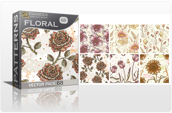 designious seamless patterns vector pack 68 floral print 0 New Vector Resources from Designious.com! Sugar Skulls, Seamless Patterns, Floral Vector Packs + Freebie