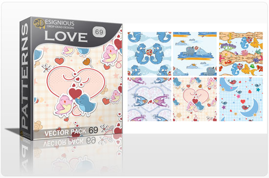 designious seamless patterns vector pack 69 love preview New Patterns Vector Packs & T shirt Designs + Freebie & Speed Drawing Video from Designious.com!