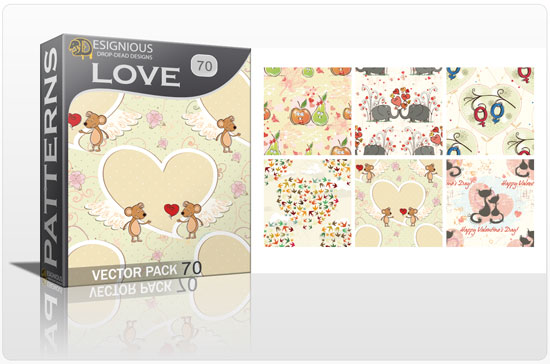 designious seamless patterns vector pack 70 love preview New Patterns Vector Packs & T shirt Designs + Freebie & Speed Drawing Video from Designious.com!