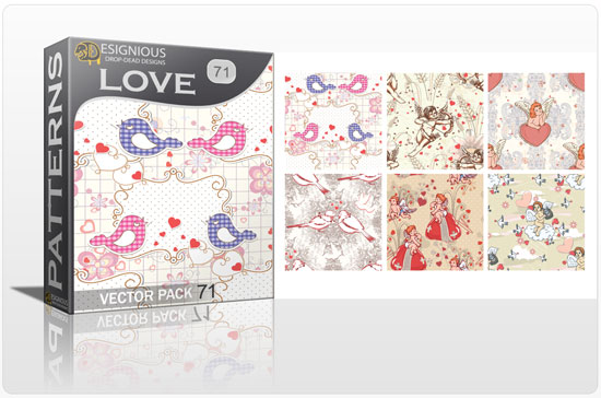 designious seamless patterns vector pack 71 love preview New Patterns Vector Packs & T shirt Designs + Freebie & Speed Drawing Video from Designious.com!