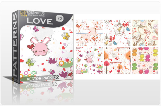 designious seamless patterns vector pack 72 love preview New Patterns Vector Packs & T shirt Designs + Freebie & Speed Drawing Video from Designious.com!