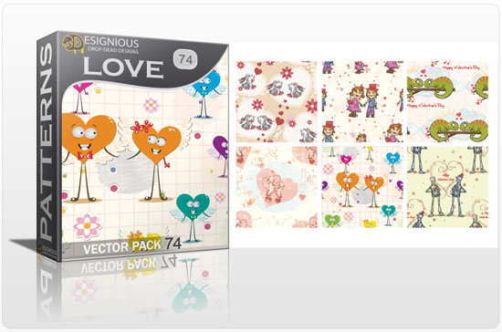 designious seamless patterns vector pack 74 love preview New Patterns Vector Packs & T shirt Designs + Freebie & Speed Drawing Video from Designious.com!