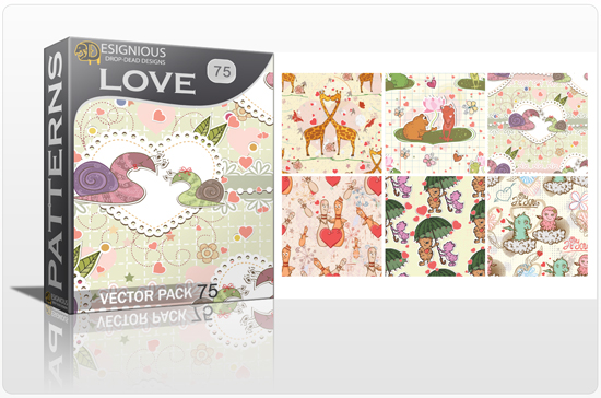 designious seamless patterns vector pack 75 love preview New Patterns Vector Packs & T shirt Designs + Freebie & Speed Drawing Video from Designious.com!