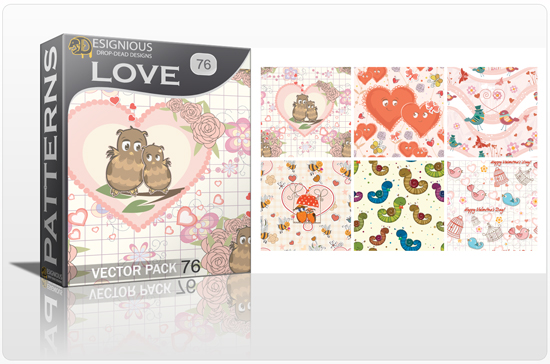 designious seamless patterns vector pack 76 love preview New Patterns Vector Packs & T shirt Designs + Freebie & Speed Drawing Video from Designious.com!