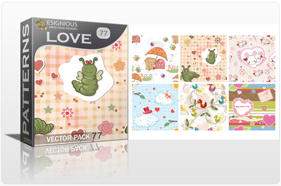 designious seamless patterns vector pack 77 love preview New Patterns Vector Packs & T shirt Designs + Freebie & Speed Drawing Video from Designious.com!