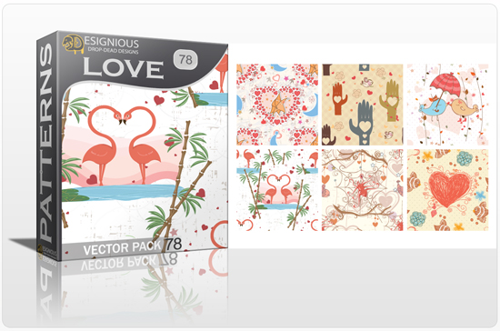 designious seamless patterns vector pack 78 love preview New Patterns Vector Packs & T shirt Designs + Freebie & Speed Drawing Video from Designious.com!