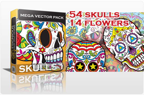 designious sugar skulls vector mega pack 1 sugar skulls New Vector Resources from Designious.com! Sugar Skulls, Seamless Patterns, Floral Vector Packs + Freebie