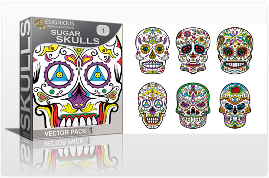 designious sugar skulls vector pack 1 preview 1 New Vector Resources from Designious.com! Sugar Skulls, Seamless Patterns, Floral Vector Packs + Freebie
