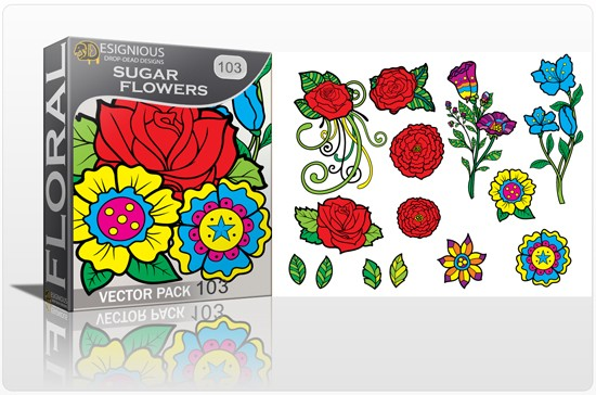 designious sugar skulls vector pack 10 preview 1 1 New Vector Resources from Designious.com! Sugar Skulls, Seamless Patterns, Floral Vector Packs + Freebie
