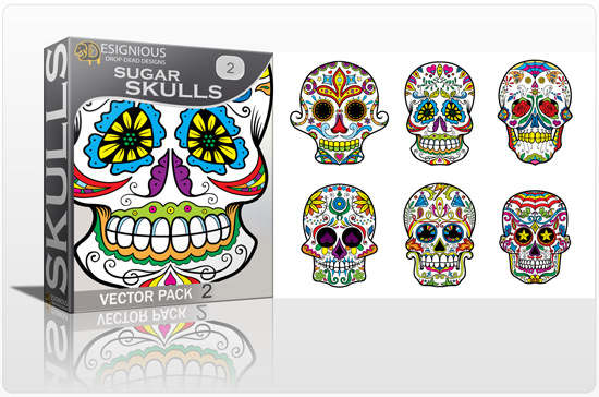 designious sugar skulls vector pack 2 preview 1 New Vector Resources from Designious.com! Sugar Skulls, Seamless Patterns, Floral Vector Packs + Freebie