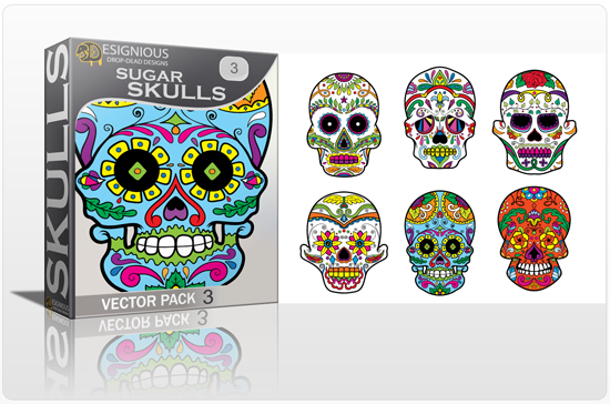 designious sugar skulls vector pack 3 preview 1 New Vector Resources from Designious.com! Sugar Skulls, Seamless Patterns, Floral Vector Packs + Freebie