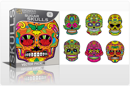 designious sugar skulls vector pack 4 preview 1 New Vector Resources from Designious.com! Sugar Skulls, Seamless Patterns, Floral Vector Packs + Freebie