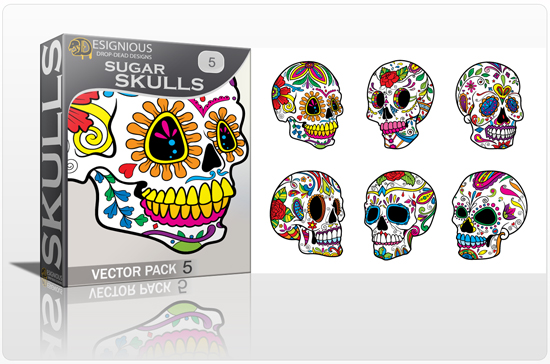 designious sugar skulls vector pack 5 preview 1 New Vector Resources from Designious.com! Sugar Skulls, Seamless Patterns, Floral Vector Packs + Freebie