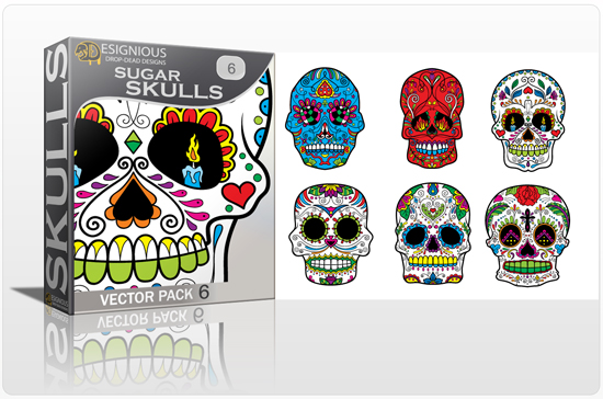 designious sugar skulls vector pack 6 preview 1 New Vector Resources from Designious.com! Sugar Skulls, Seamless Patterns, Floral Vector Packs + Freebie