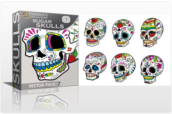 designious sugar skulls vector pack 7 preview 1 New Vector Resources from Designious.com! Sugar Skulls, Seamless Patterns, Floral Vector Packs + Freebie