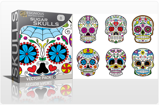 designious sugar skulls vector pack 8 preview 1 New Vector Resources from Designious.com! Sugar Skulls, Seamless Patterns, Floral Vector Packs + Freebie