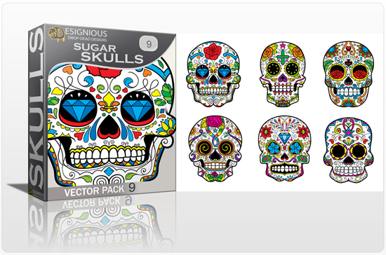 designious sugar skulls vector pack 9 preview 1 New Vector Resources from Designious.com! Sugar Skulls, Seamless Patterns, Floral Vector Packs + Freebie