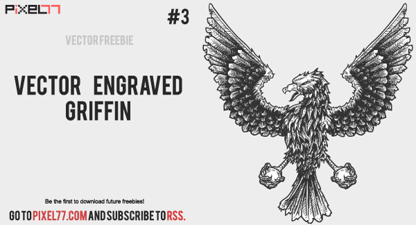 pixel77 free vector engraved griffin 600 Weekly Freebie #3: Vector Engraved Griffin