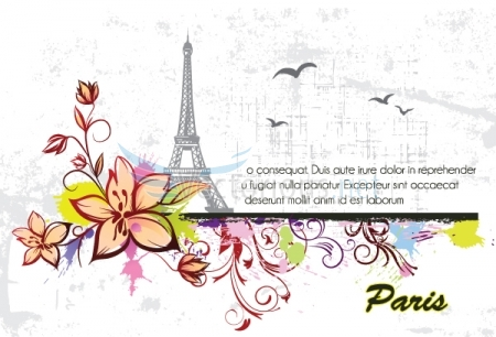 0664 eiffel tower with floral and grunge Vector Monuments Youll Need in Your Design Projects & Their Story   Part 1