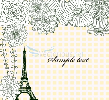 0666 eiffel tower with floral Vector Monuments Youll Need in Your Design Projects & Their Story   Part 1
