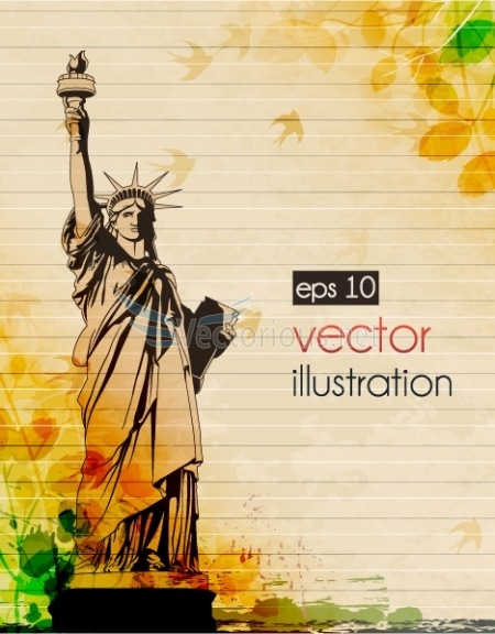 0690 statue of liberty with grunge Vector Monuments Youll Need in Your Design Projects & Their Story   Part 1
